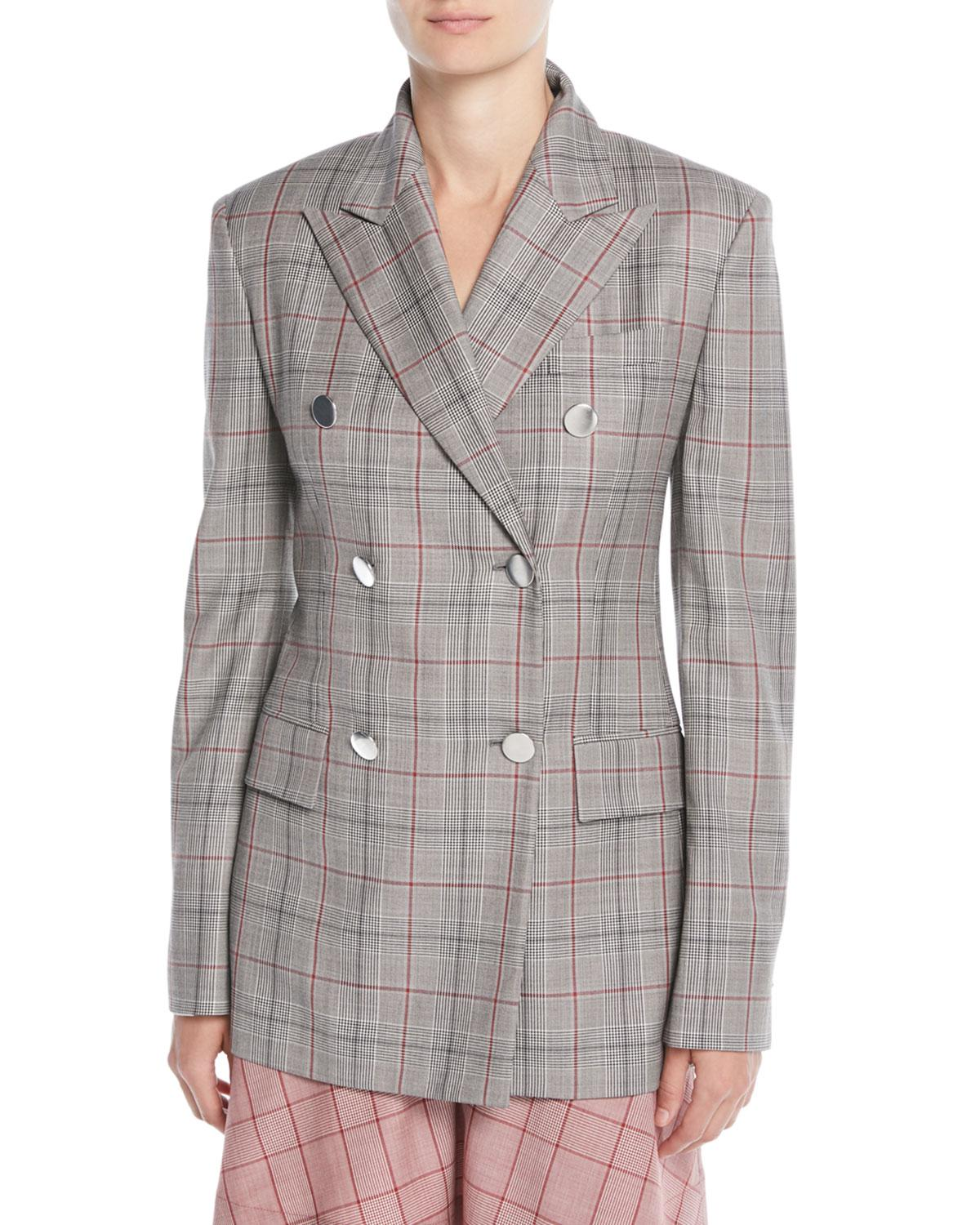 6b849fceddfb CALVIN KLEIN 205W39NYC. Women's Gray Double-breasted Metal-buttons Wool  Blazer
