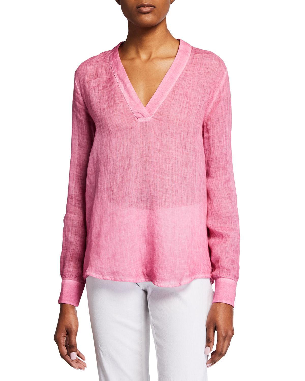 0e1e408e30 Lyst - 120% Lino V-neck Long-sleeve Linen Tunic in Pink