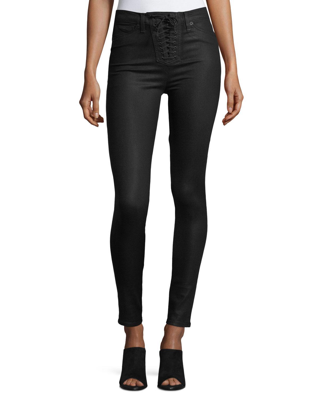 3d030b2be1b Lyst - Hudson Bullocks Lace-up High-rise Super Skinny Pants in Black