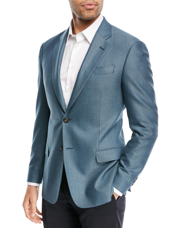 Lyst - Emporio Armani Textured Ocean Blue Blazer in Blue for Men