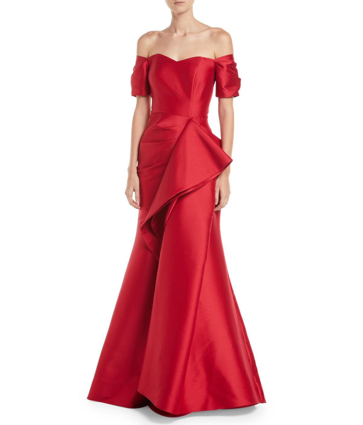 Lyst - Badgley Mischka Off-the-shoulder Gown W/ Dramatic Ruffle in Red