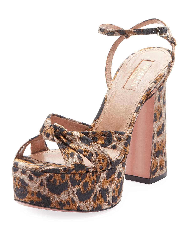 51c3f226e79 Aquazzura. Women s Brown Baba Plateau Leopard Fabric Platform Sandal
