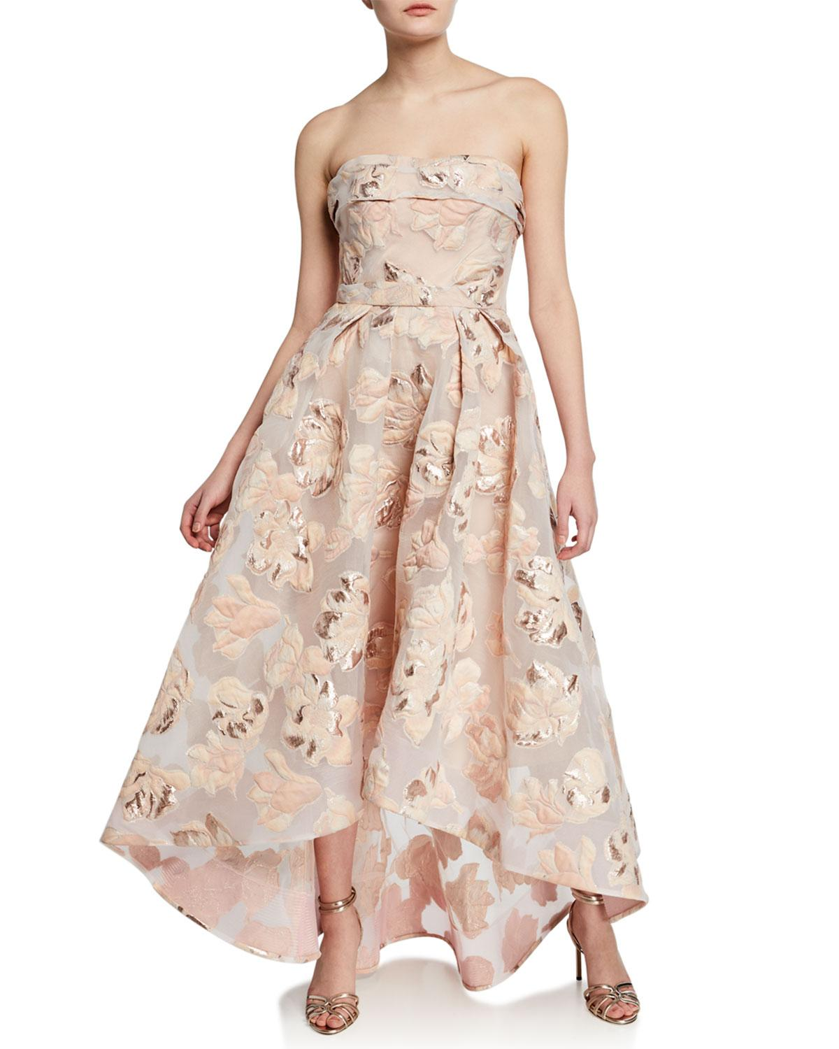bc585c7d Marchesa notte Strapless Metallic Fil Coupe High-low Gown in Pink - Lyst