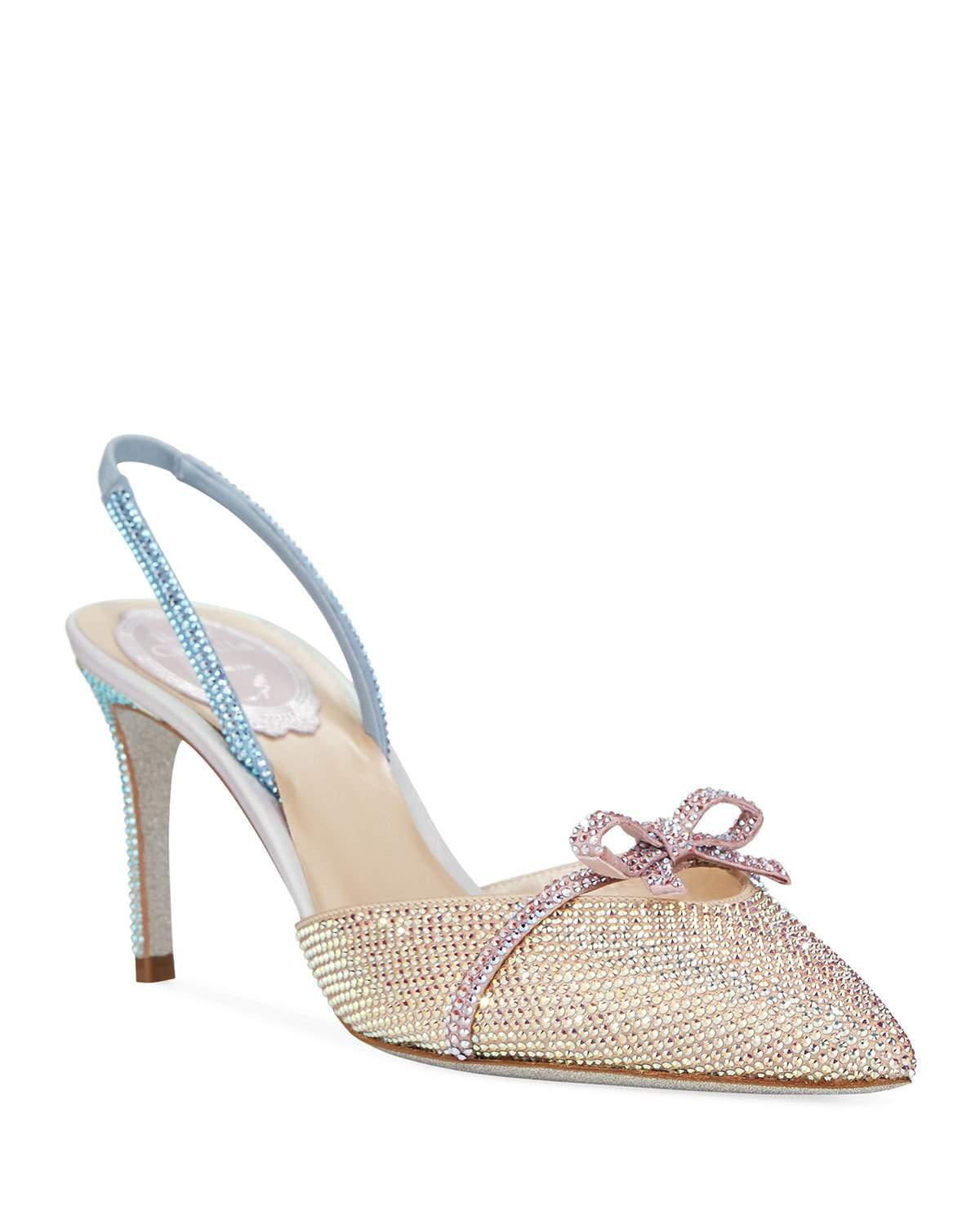 e1318e5d447e Lyst - Rene Caovilla Strass Crystal-embellished Bow Pumps in Natural