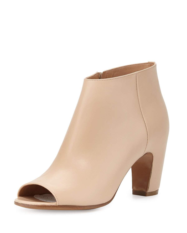 Maison Margiela Leather Peep Toe Curved-Heel Booties V3IGkJdUDX
