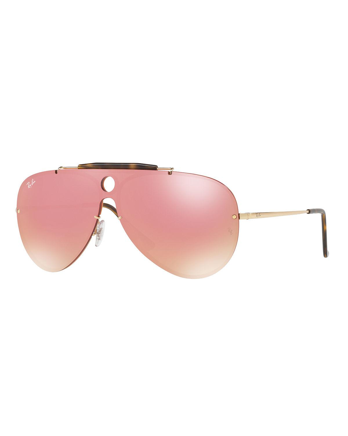 c829100c6 Lyst - Ray-Ban Blaze Shooter Flat Shield Sunglasses in Pink