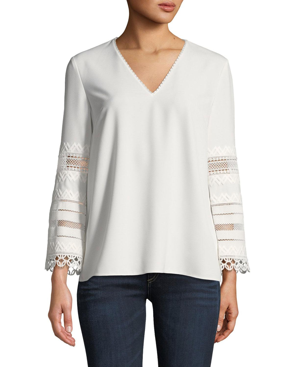 b2a2503dbcfde9 Lyst - Elie Tahari Elvira Eyelet-lace-sleeve Blouse in White
