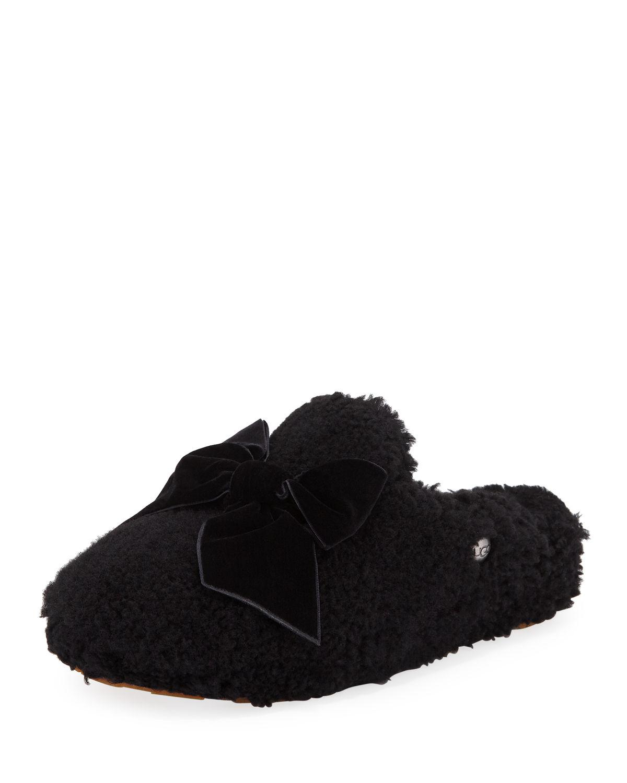 13ae32ca927 Lyst - UGG Addison Velvet-bow Curly Sheepskin Slippers in Black ...