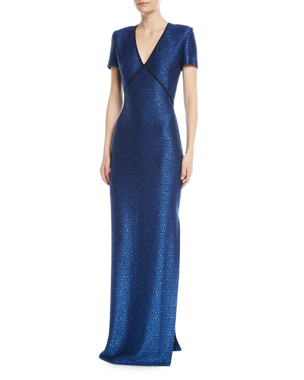 Lyst - St. John Luster Sequin V-neck Evening Gown in Blue
