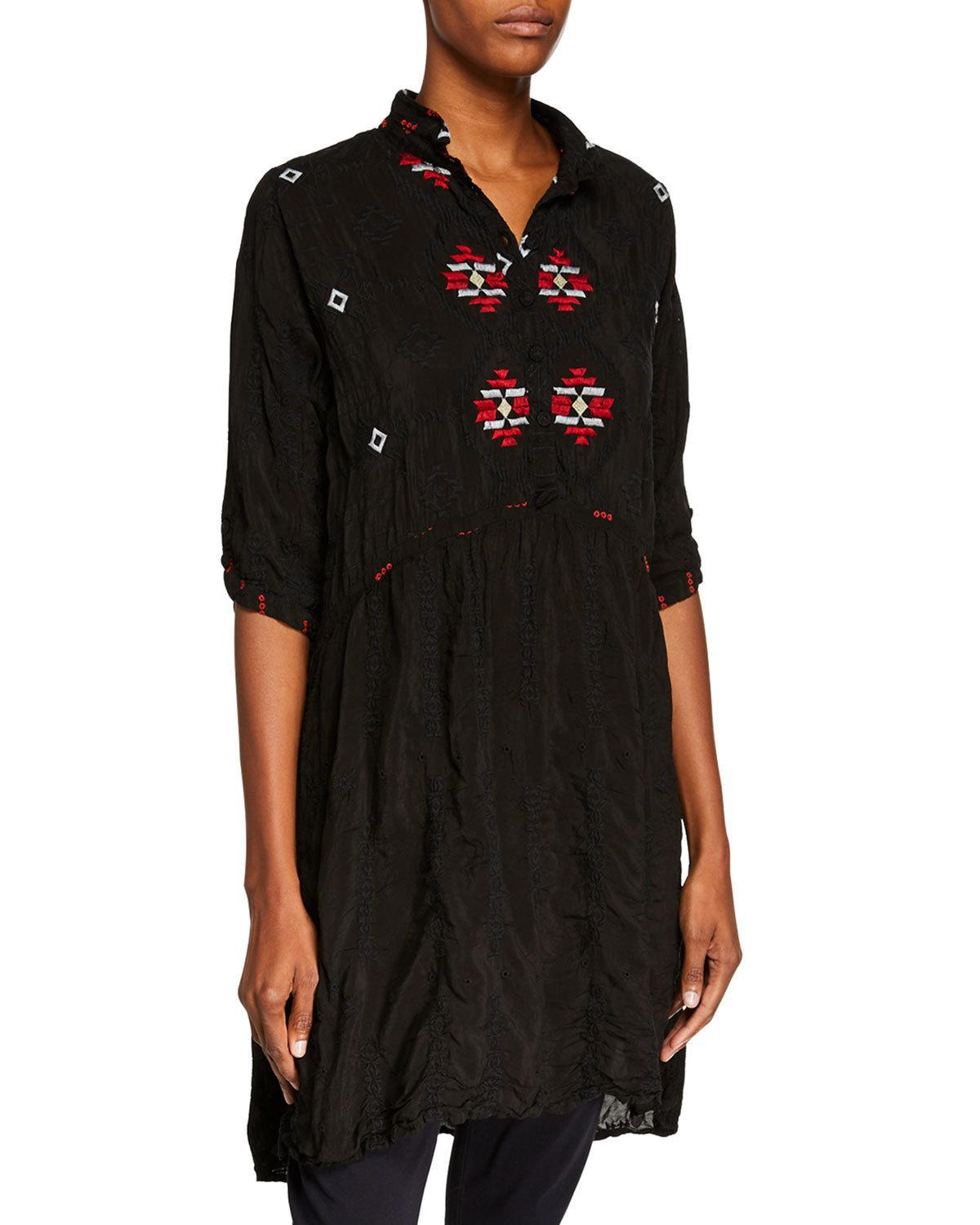 ecad24f82c4 Lyst - Johnny Was Pocca Half-sleeve Embroidered Tunic Dress in Black ...