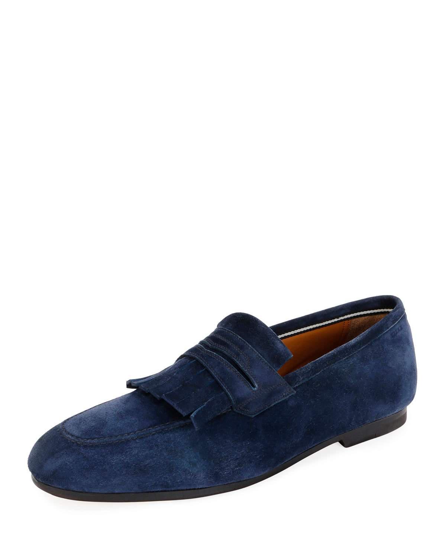 5a8b8d3b042 Lyst - Bally Men s Plumiel Kiltie Suede Loafer in Blue for Men