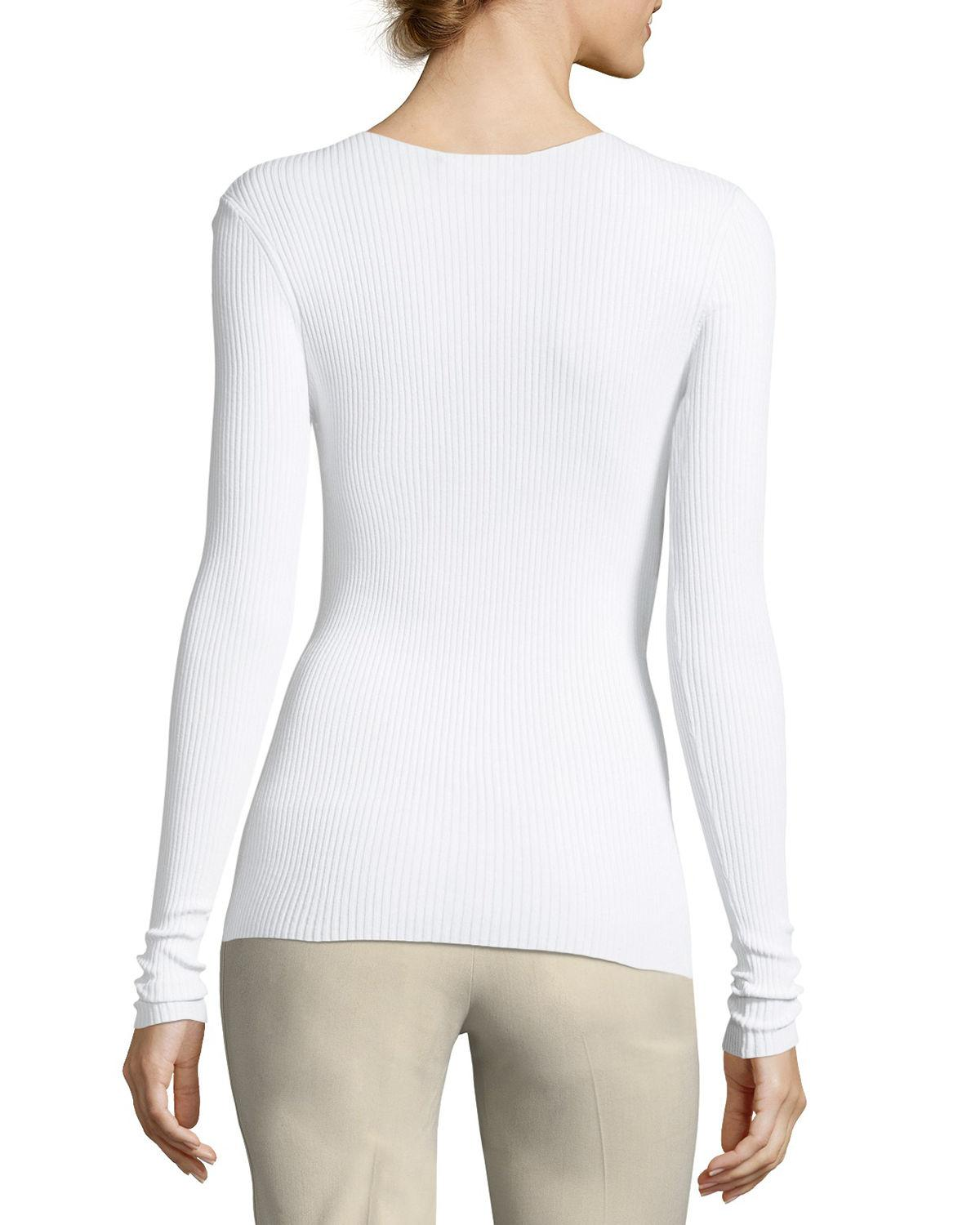 Vince Crewneck Long-sleeve Ribbed Pullover Sweater in White | Lyst