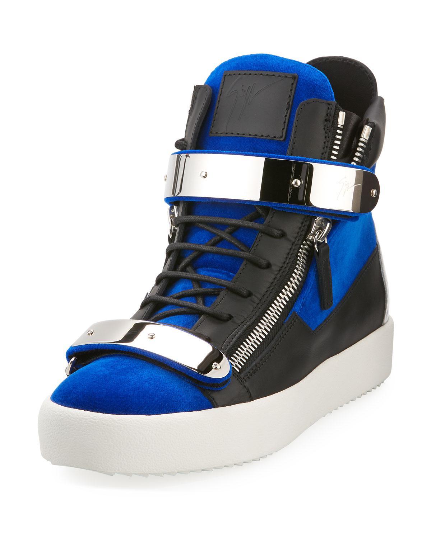 63ad07d512151 Lyst - Giuseppe Zanotti Men s Velvet Double-bar High-top Sneakers in ...