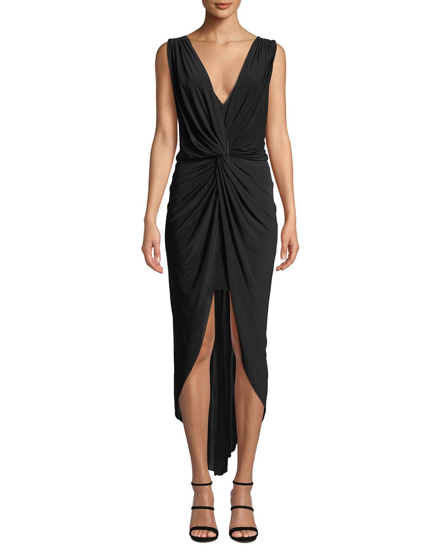 Lyst - Misa Leza Gathered Crossover Sleeveless Tulip Maxi Dress in Black d837e8fd2