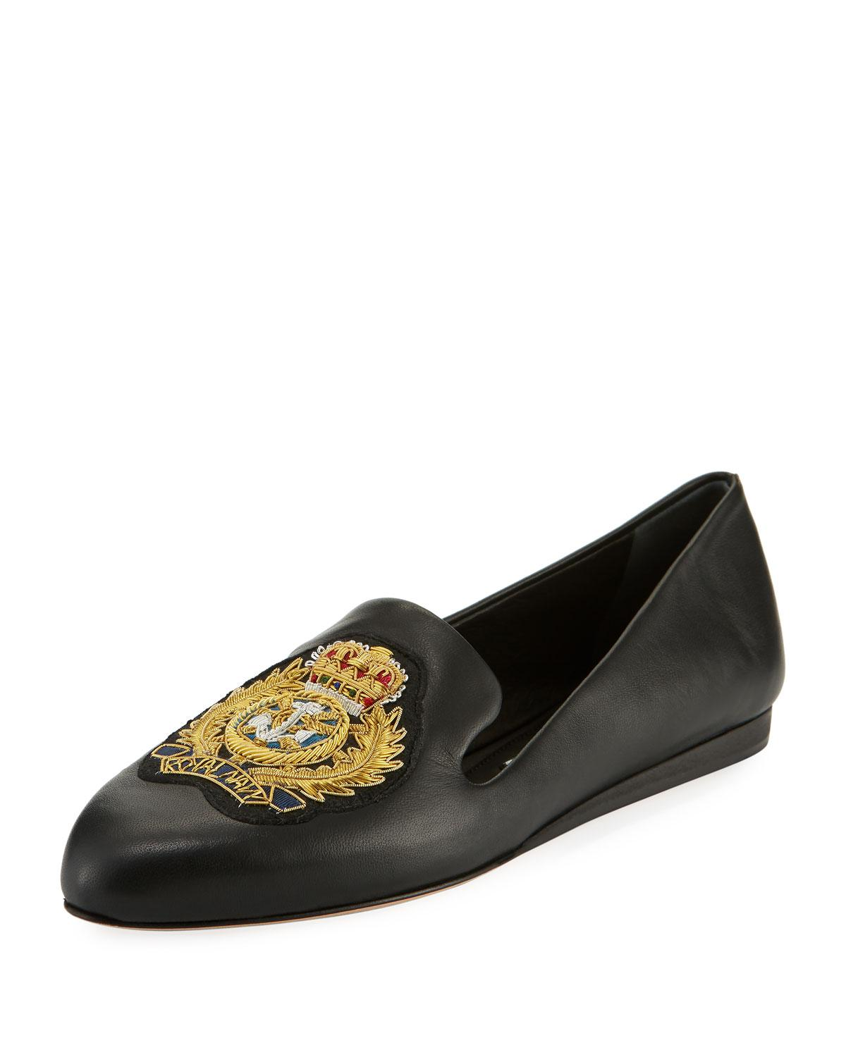 f3fa77962cf Lyst - Veronica Beard Griffin Patch Flat Napa Leather Slip-on ...
