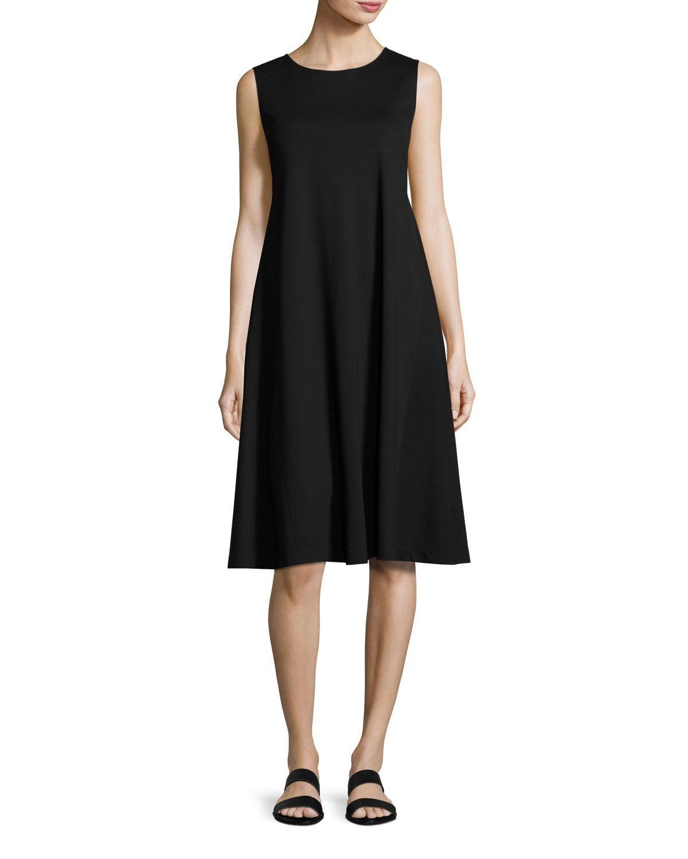 89d05d0582c Lyst - Lafayette 148 New York Sleeveless Jersey Trapeze Dress in Black