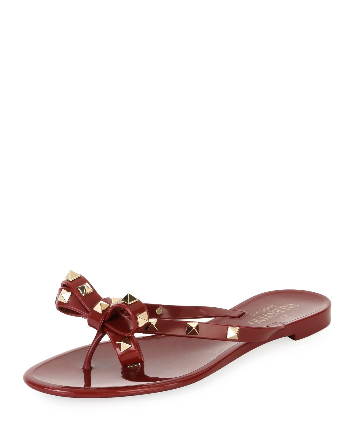 19547c224 Lyst - Valentino Jelly Rockstud Flat Thong Sandals in Red - Save 19%
