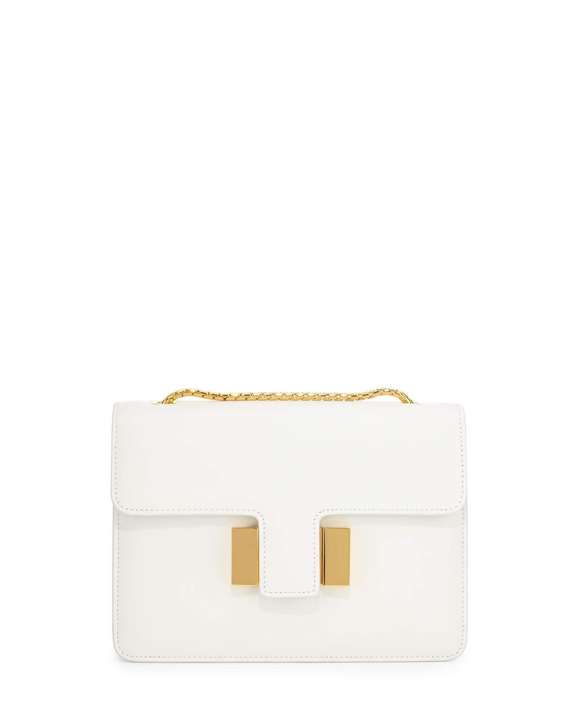 Lyst - Tom Ford Sienna Medium T-Buckle Shoulder Bag in White b1f067d9d3313