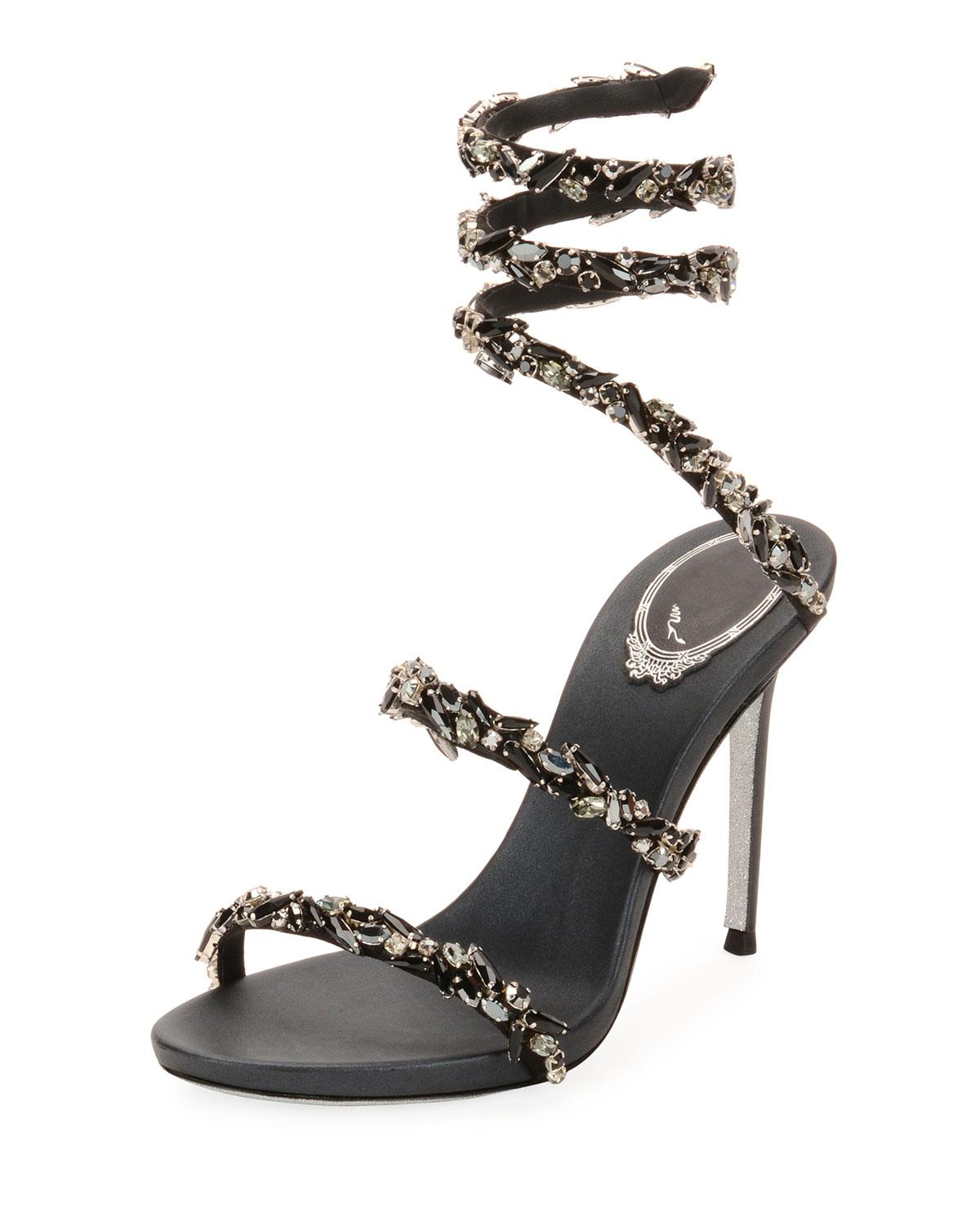 08ad4b3cb8a28 Lyst - Rene Caovilla Snake-coil Sandal With Crystal Detail in Black