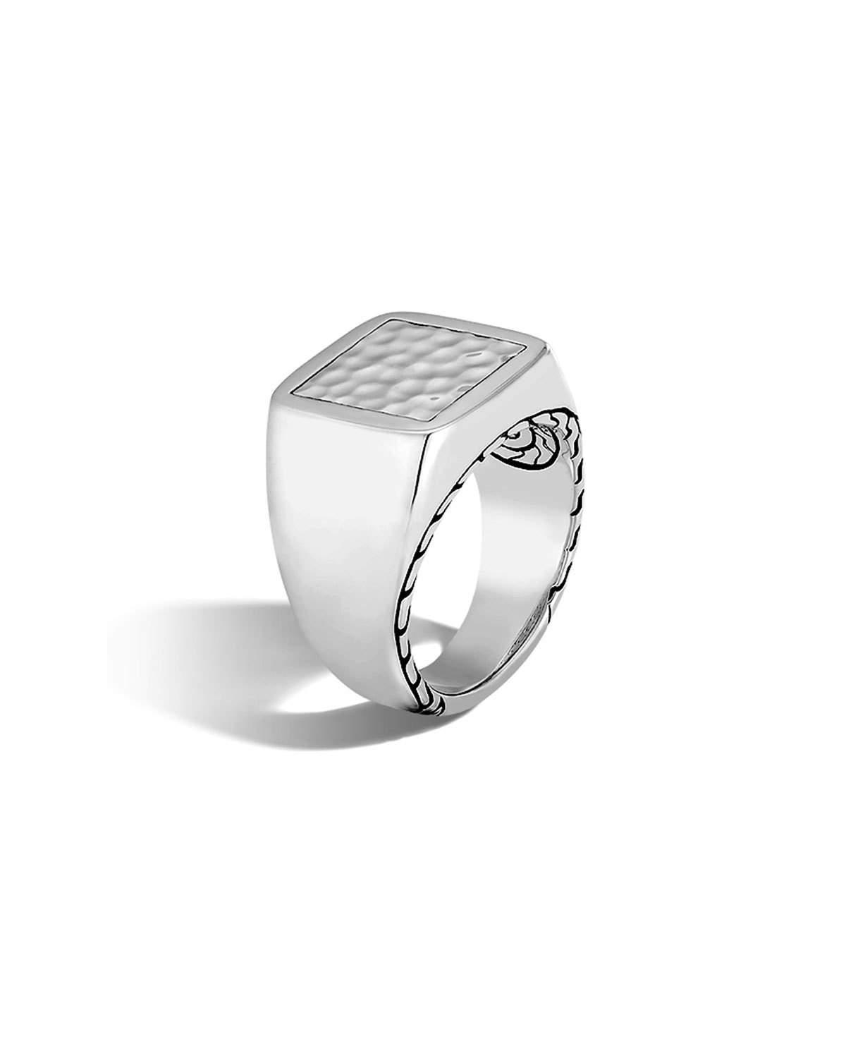 John Hardy Mens Classic Chain Rhodium-Plated Signet Ring with Diamonds zl6HBMr5