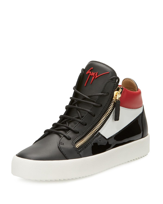 43ed54e9bb0 Giuseppe Zanotti. Black Men s Crocodile-embossed Leather Mid-top Sneakers