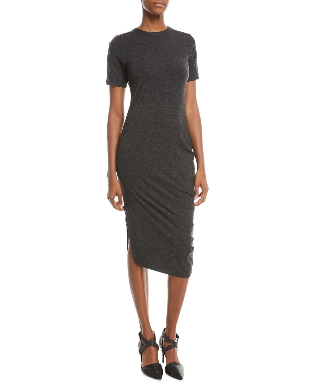 64ee937549191 Lyst - Brunello Cucinelli Short-sleeve Jersey Monili-shoulder Dress ...