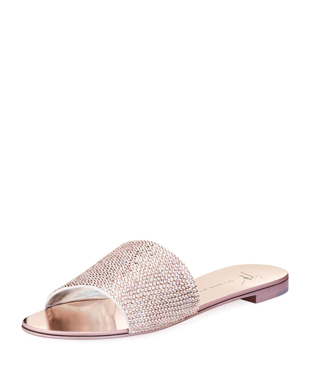 e2608a17135a5 Lyst - Giuseppe Zanotti Crystal-embellished Flat Slide Sandal in Pink