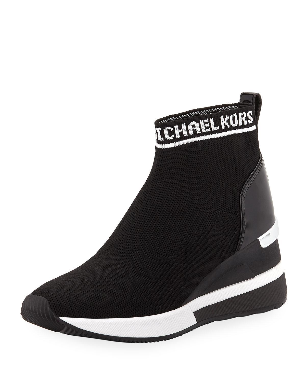 01053d6477b8 Lyst - MICHAEL Michael Kors Skyler Stretch-knit Sneaker Booties in Black
