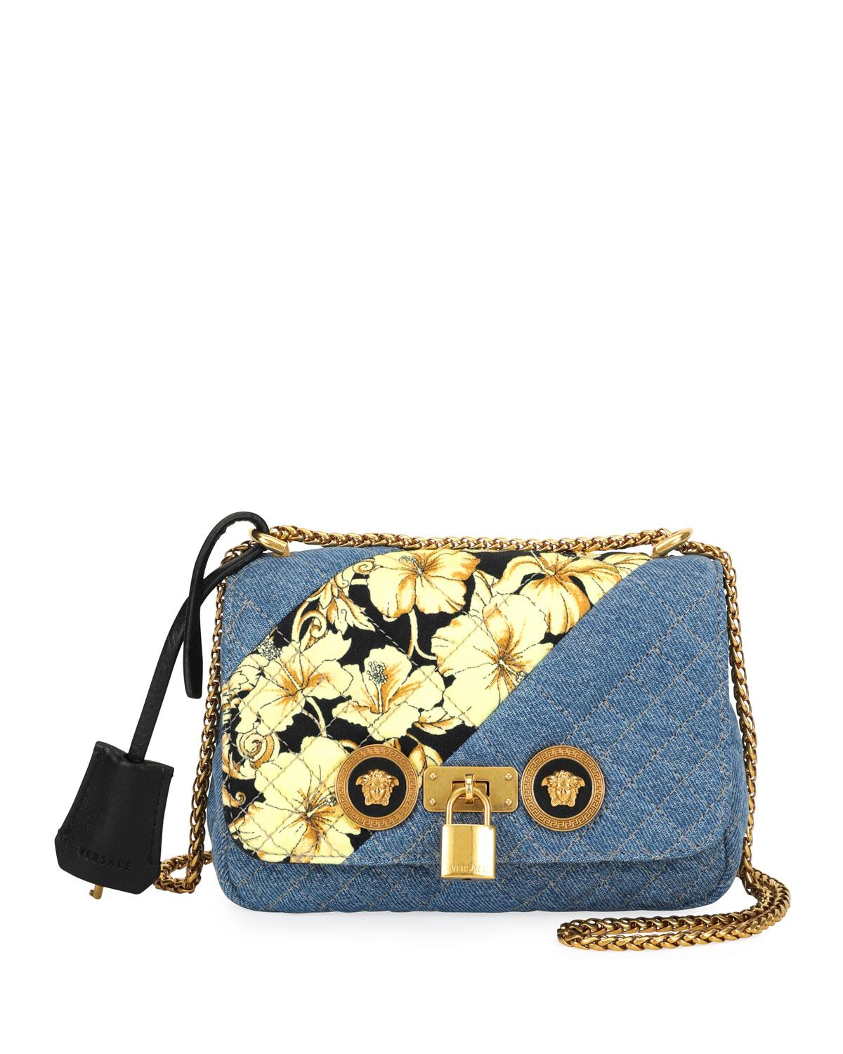 800017ab261 Lyst - Versace Icon Small Denim Crossbody Bag With Barocco Detail in ...