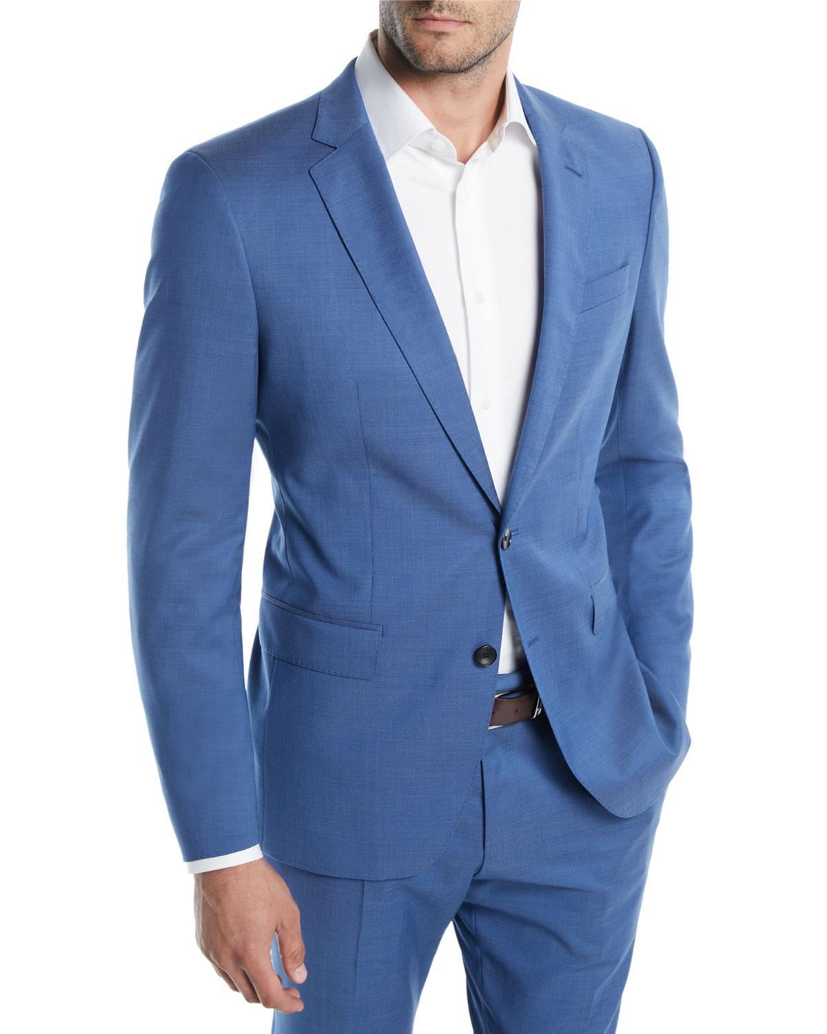 Lyst - Boss Men\'s Bright Solid Two-piece Wool Suit in Blue for Men
