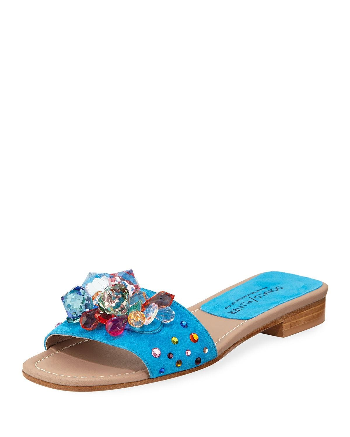 26f12e1d0 Donald J Pliner - Blue Tropa Jeweled Flat Suede Slide Sandals - Lyst. View  fullscreen