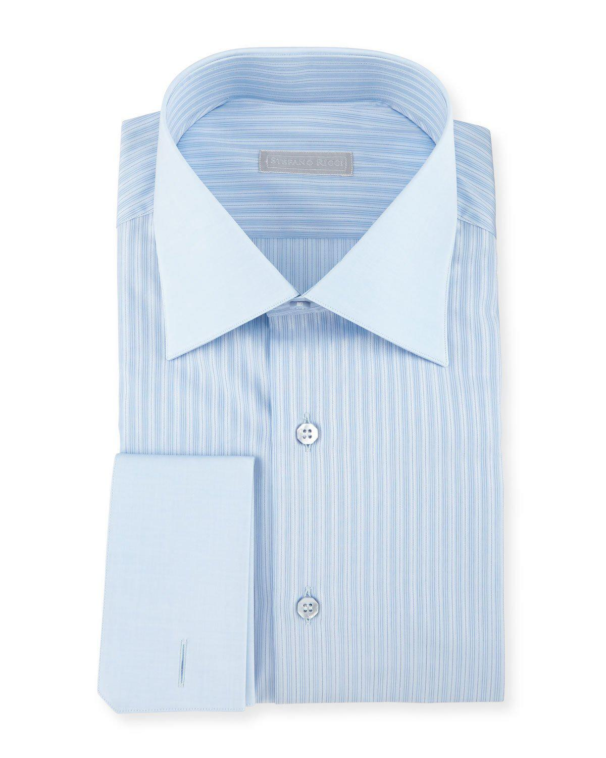 Lyst stefano ricci contrast collar french cuff striped for Mens dress shirts with contrasting collars and cuffs