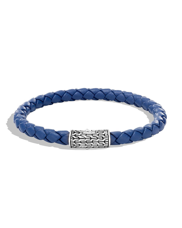 John Hardy Mens Classic Chain Woven Bracelet, Blue