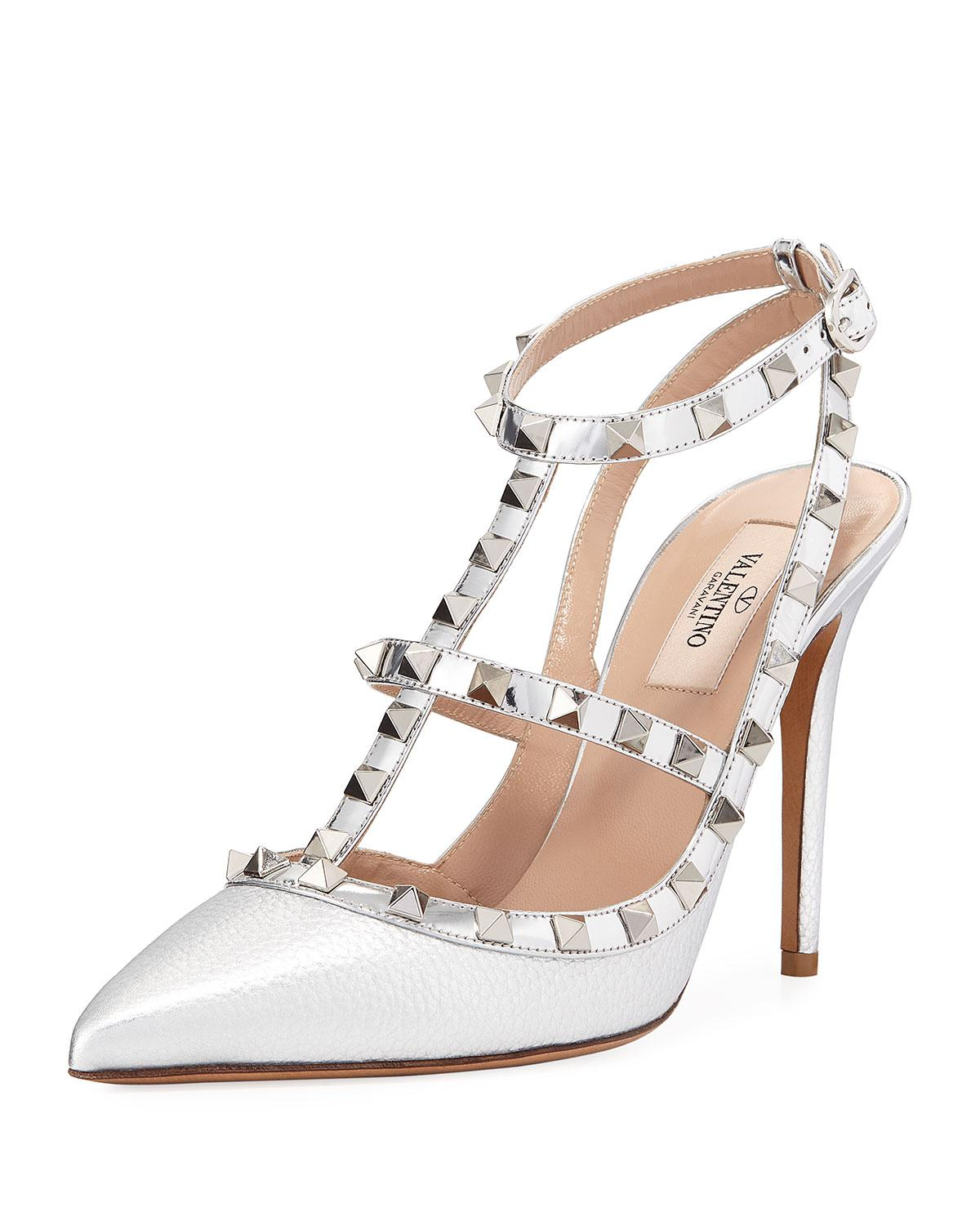 b84d50ce56 Valentino Rockstud Metallic Leather 100mm Pumps - Silvertone ...