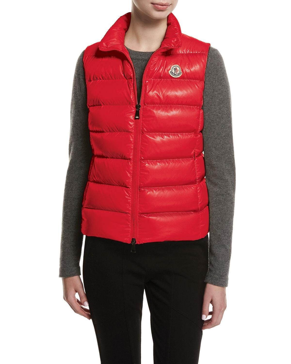 b3bc53dbd Moncler Ghany Shiny Quilted Puffer Vest in Red - Save 10% - Lyst