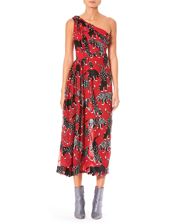 4d686f0c153 Carolina Herrera - Red One-shoulder Wildcat-print Cocktail Dress - Lyst.  View fullscreen