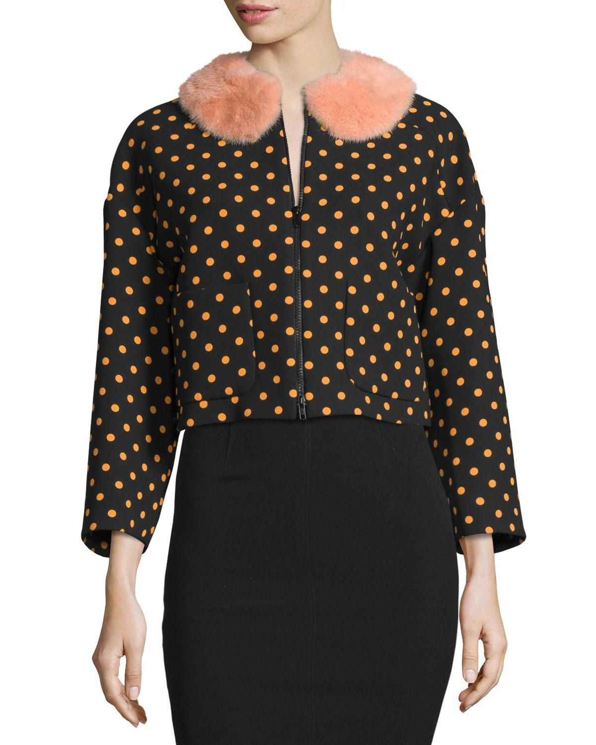 front Polka collar fur in Red Jacket Black Lyst Valentino Zip Faux dot UqAYww7