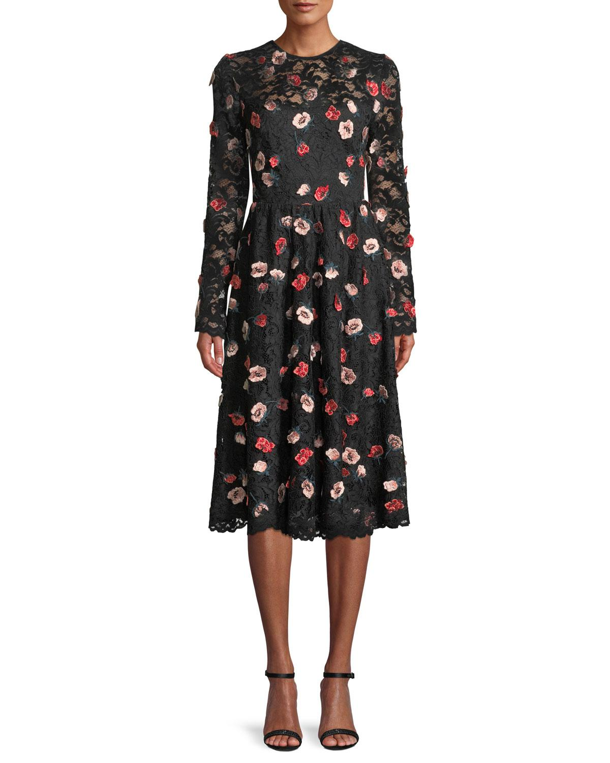 e3b57ce2947 Lyst - Lela Rose Long-sleeve Fit-and-flare Floral-embroidered Lace ...