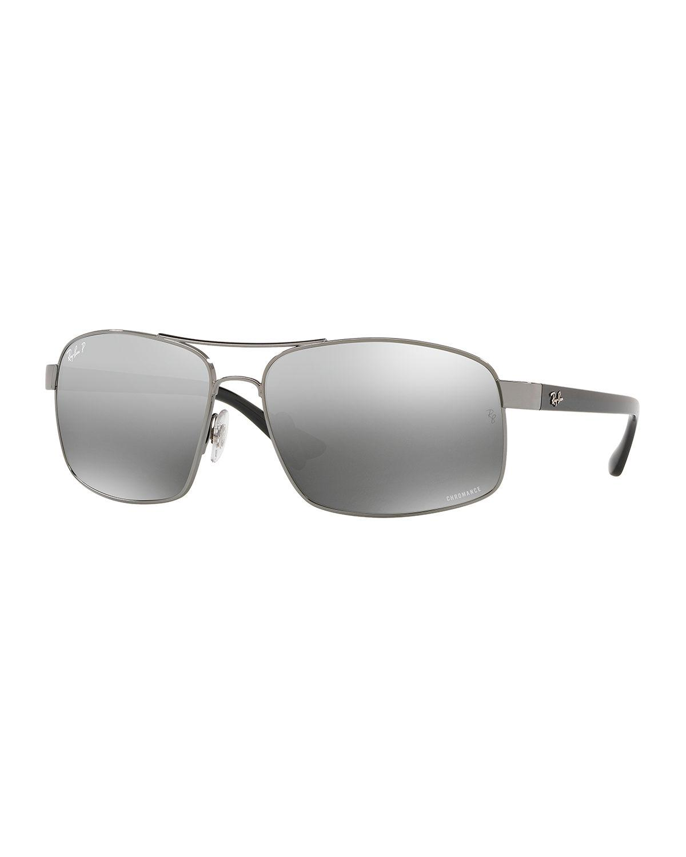 cc6d383774 Lyst - Ray-Ban Men s Square Chromance Metal Sunglasses in Gray for Men