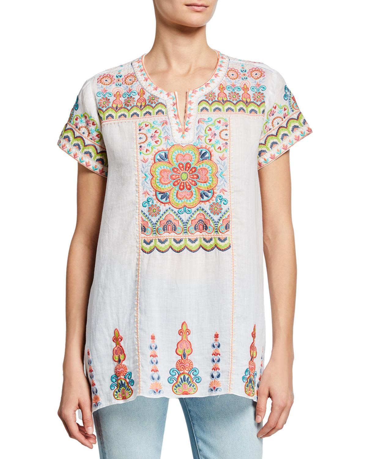 202fb739738f9 Lyst - Johnny Was Tamia Embroidered Draped Top in White
