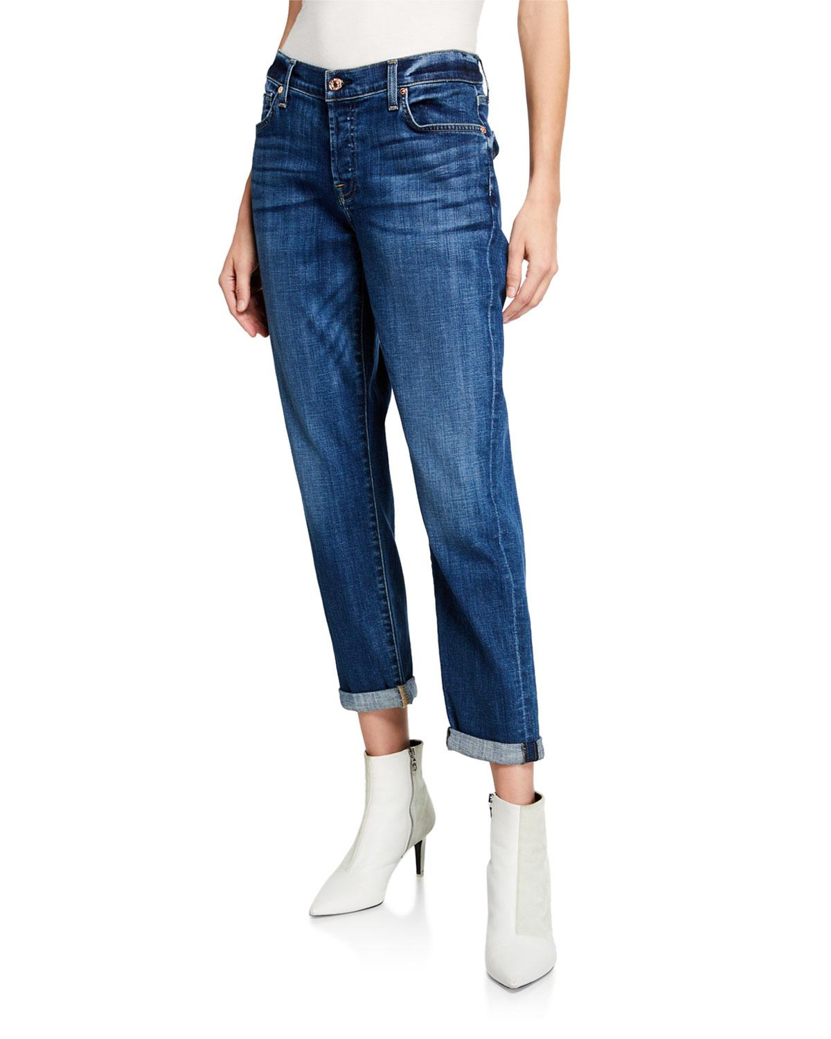 70387ab1ab635 7 For All Mankind. Women's Blue Josefina Mid-rise Cropped Boyfriend Jeans