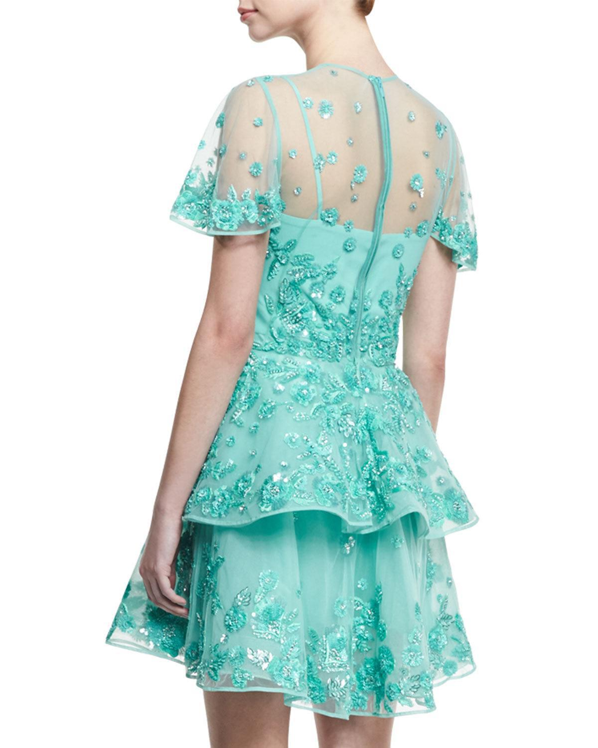 Lyst - Zuhair Murad Beaded Tulle Fit & Flare Party Dress in Blue