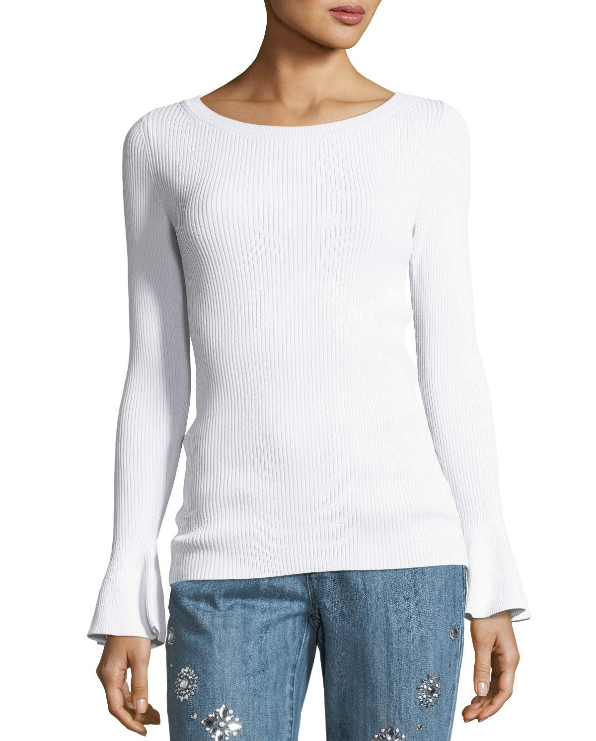 0e4afdd7eb Lyst - MICHAEL Michael Kors Ribbed Bell-sleeve Boat-neck Sweater in ...