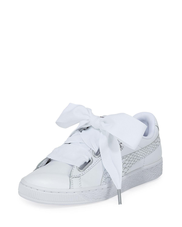 cb6ba45cf49 Lyst - PUMA Basket Heart Oceanaire Ribbon-laced Sneakers in White