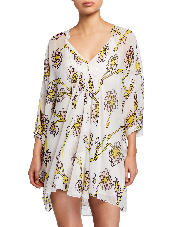 b87ca7139ff52 Diane von Furstenberg. Women's Fleurette Floral Silk Shirred Coverup Dress