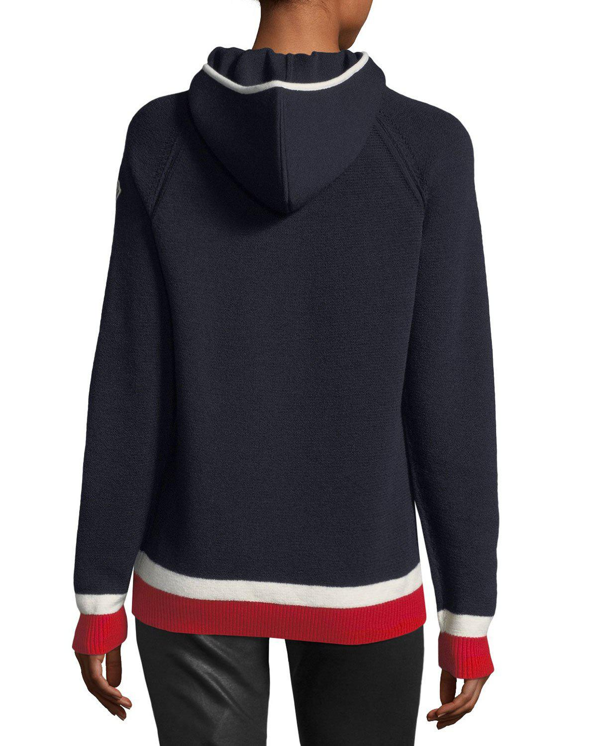 Moncler Maglione Tricot Argyle Hooded Pullover Sweater in Blue | Lyst