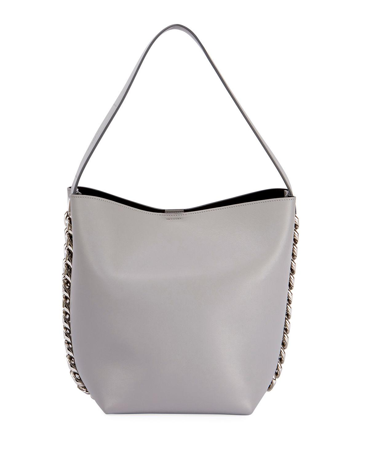 Lyst - Givenchy Infinity Calf Leather Chain Bucket Bag in Gray 3a64b189f9b69