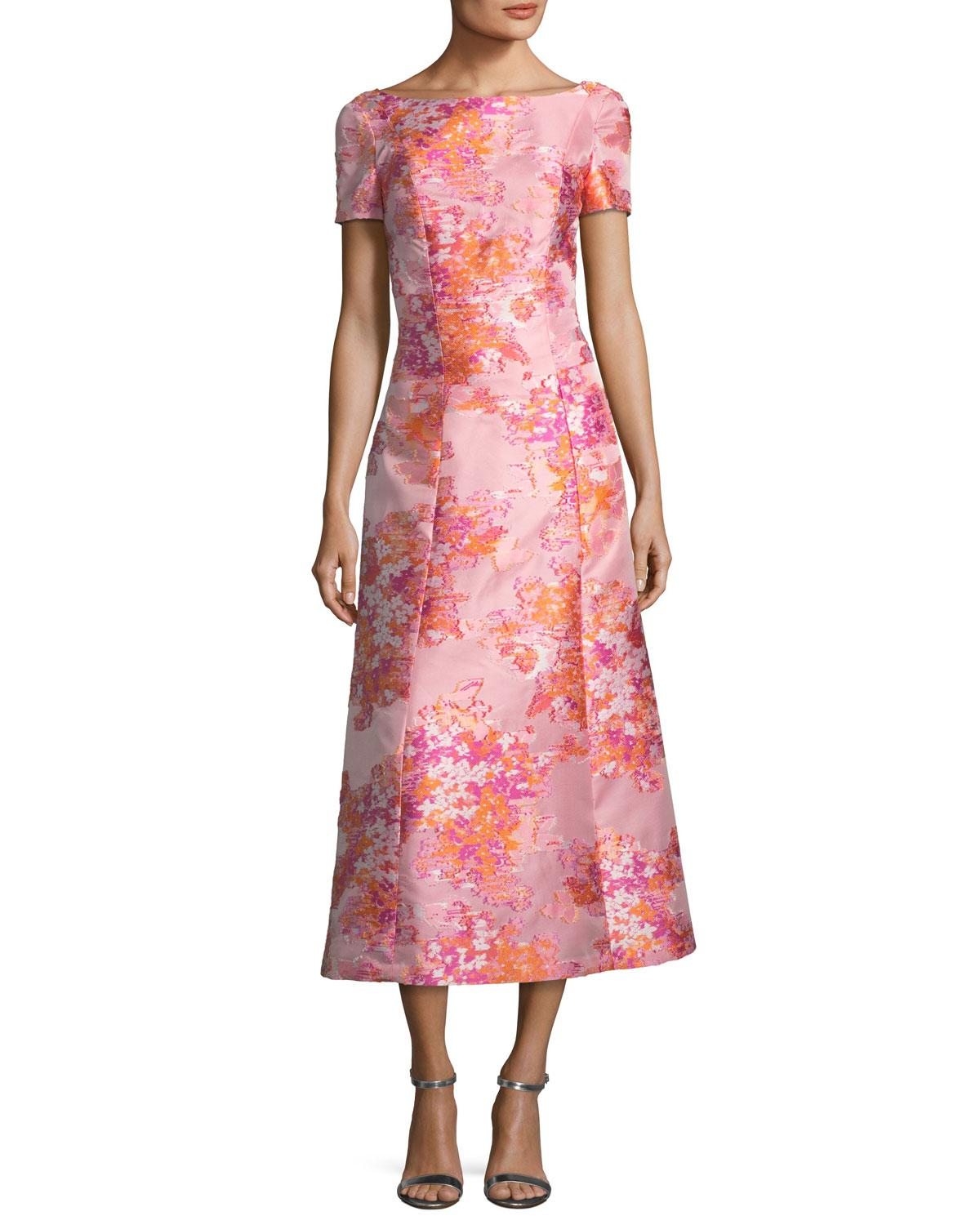Lyst - St. John Washed Bouquet Jacquard Cocktail Dress in Pink