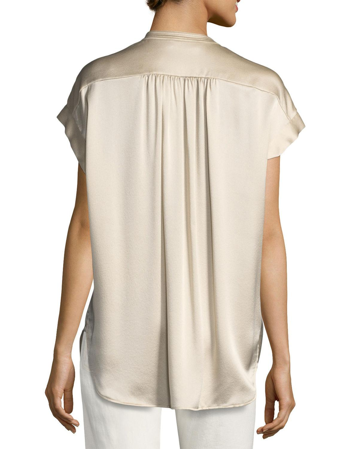 d51337cca0b818 Lyst - Vince Short-sleeve Shirred Satin Blouse in Natural