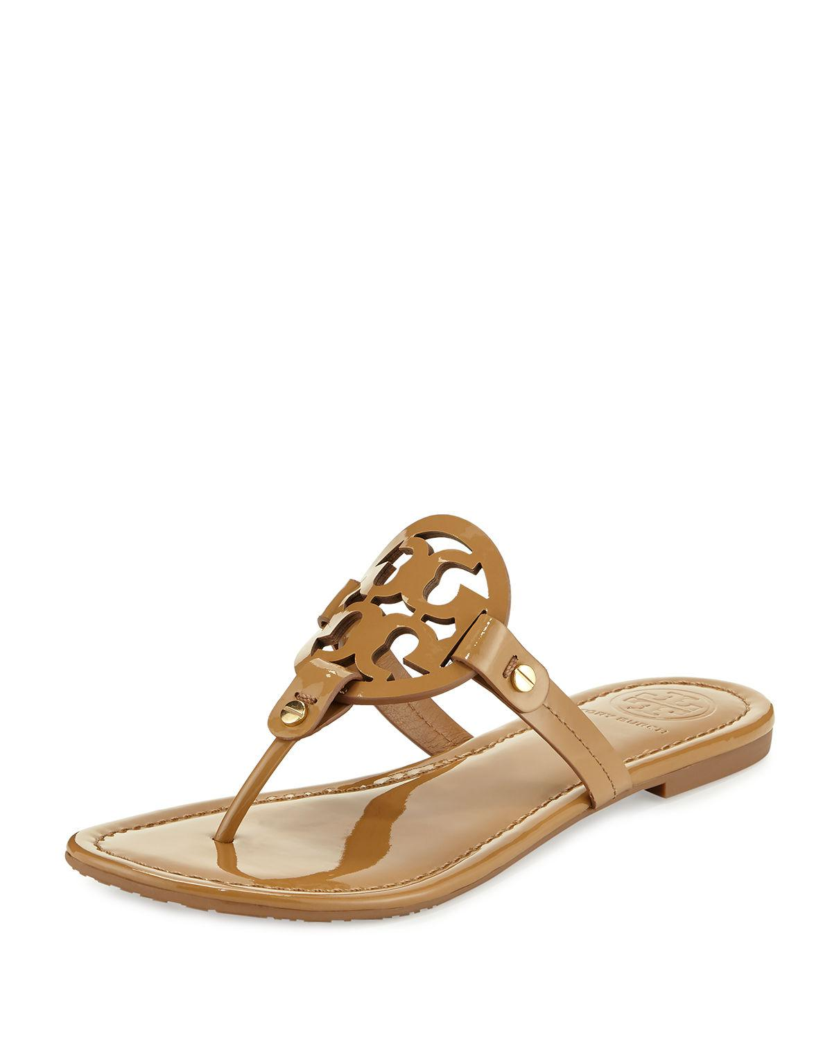 91c56e285e697 Tory Burch - Multicolor Miller Medallion Patent Leather Flat Thong - Lyst. View  fullscreen